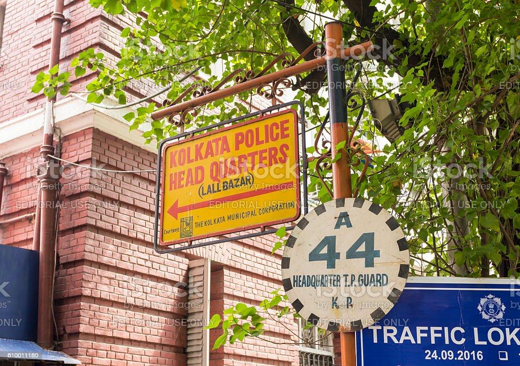 Kolkata Police Headquarters signage, India stock photo