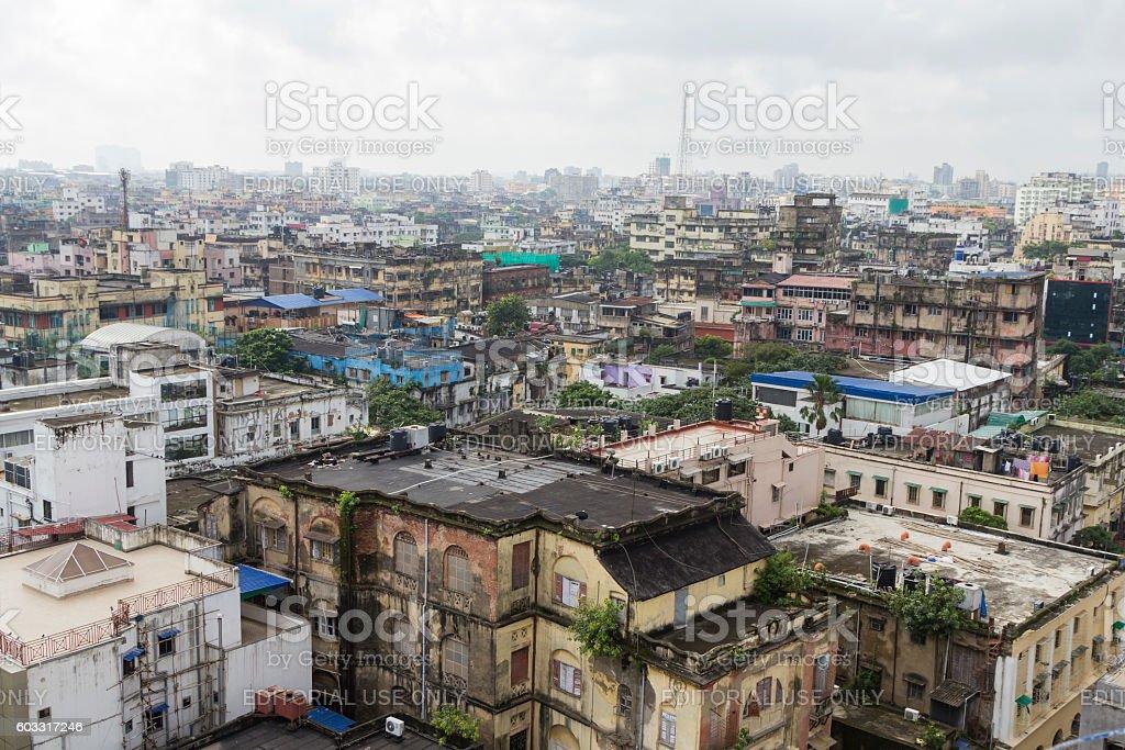 Kolkata view from rooftop, India stock photo