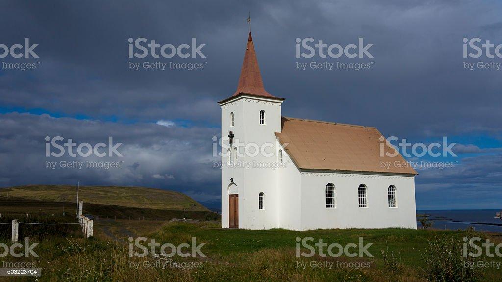 Kollafjardarneskirkja, one of the many Icelandic churches. stock photo