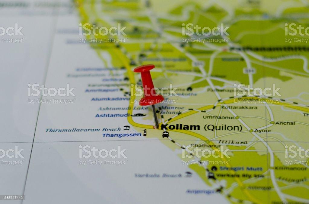 Kollam map stock photo