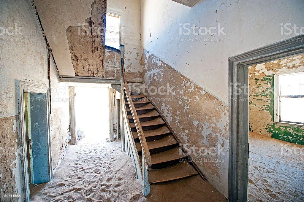Kolmannskuppe abandoned house, Luderitz, Namib Desert, Namibia, Africa stock photo