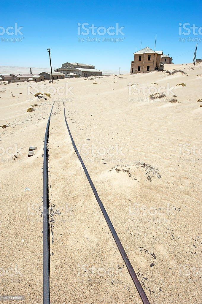 Kolmannskuppe rail to oblivion, Luderitz, Namib Desert, Namibia, Africa stock photo