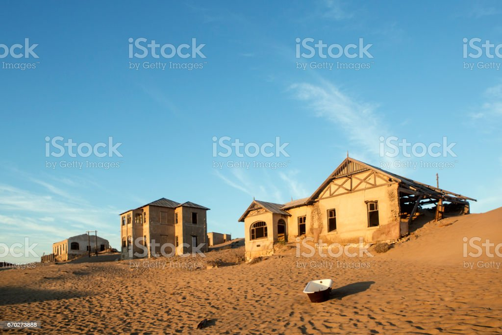 Kolmanskop abandon diamond mining town, Namibia. stock photo