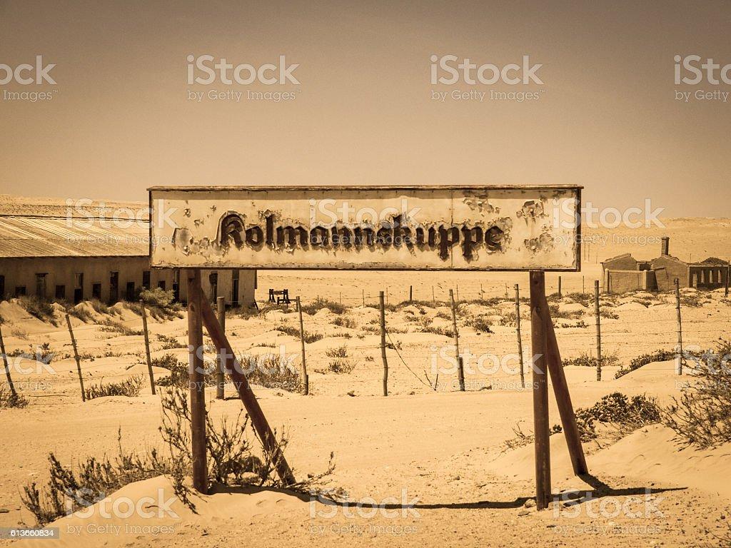 Kolmanskuppe train station sign stock photo