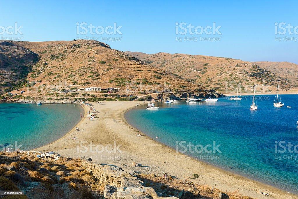Kolona double sided beach at Kythnos stock photo