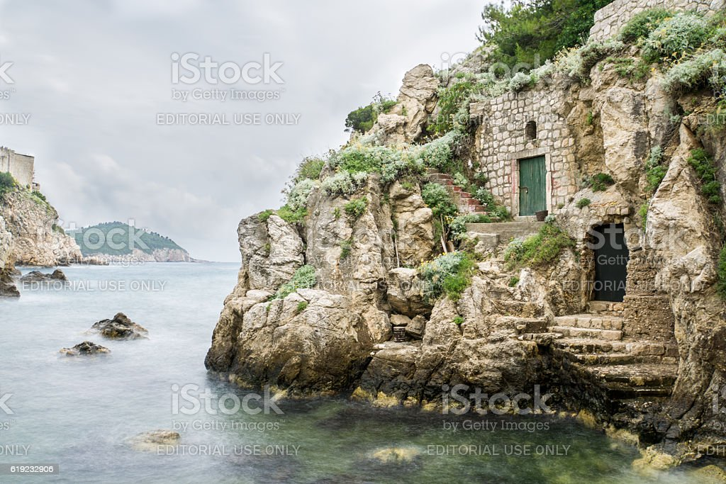 Kolorina Bay with Medieval Buildings in the Walls stock photo