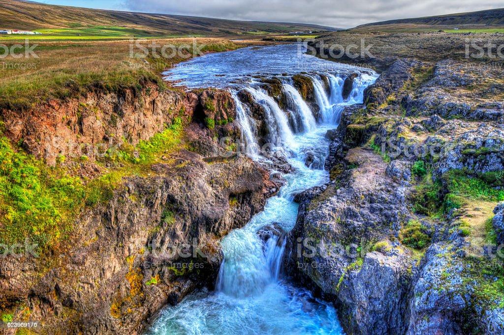 Kolufossar waterfall stock photo
