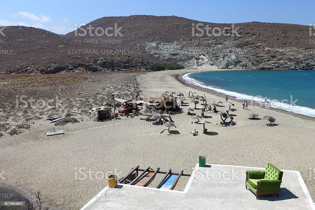 Kolympithra beach on Tinos island, Greece stock photo