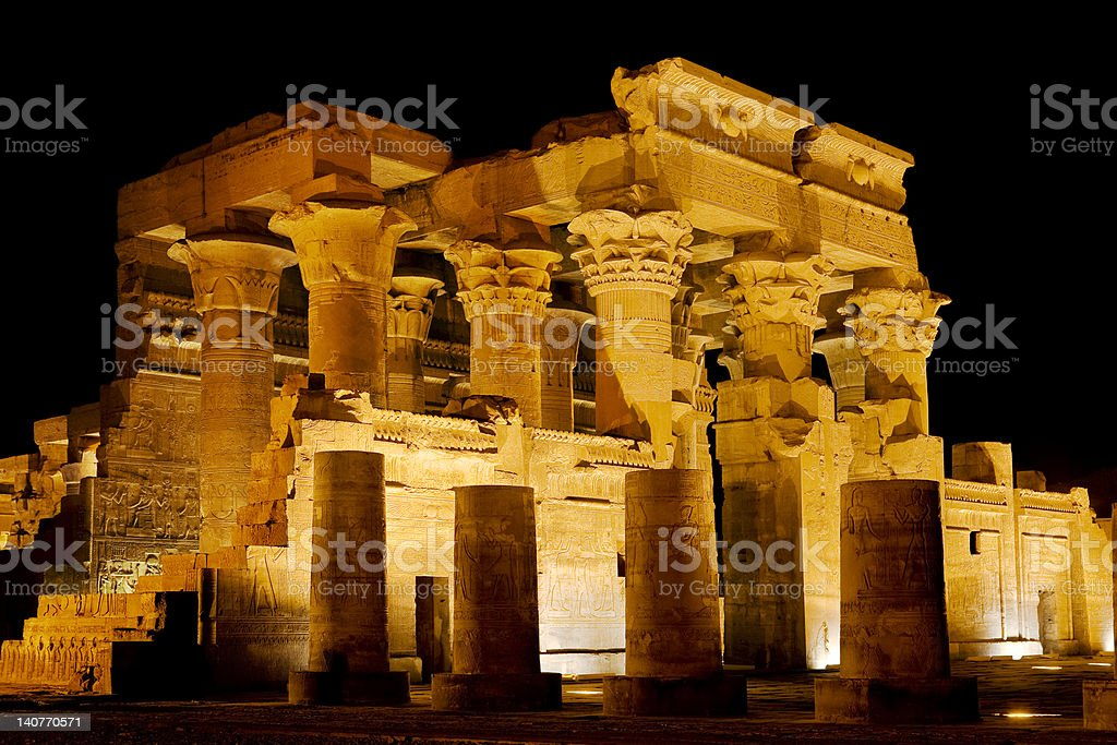 Kom Ombo Temple by night stock photo