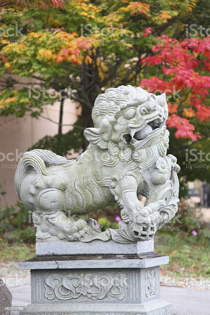 Komainu (lion-dogs) in Takayama, Japan stock photo
