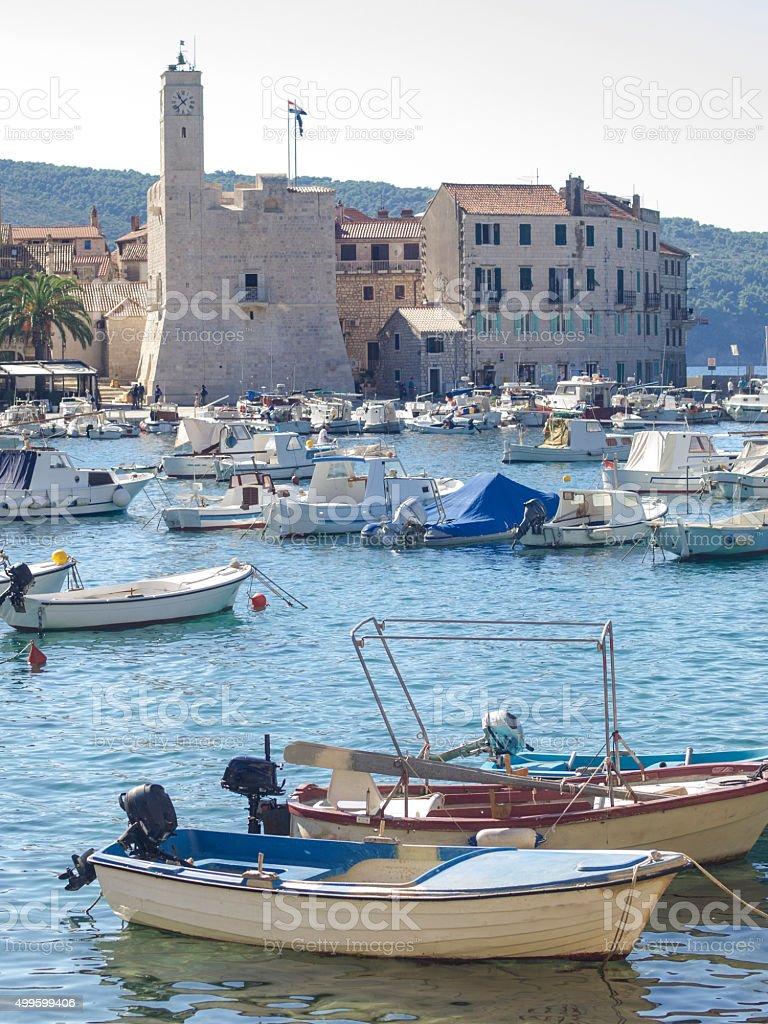 Komiza port with fishing and recreational boats, Croatia stock photo