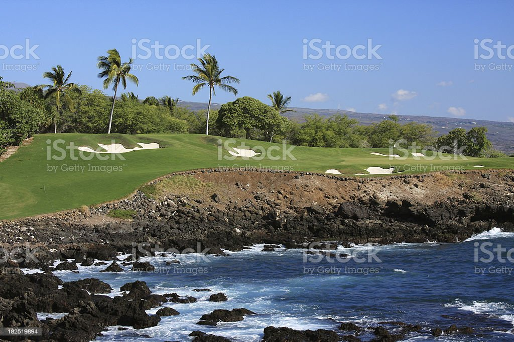 Kona, Big Island Hawaii ocean front resort golf course stock photo
