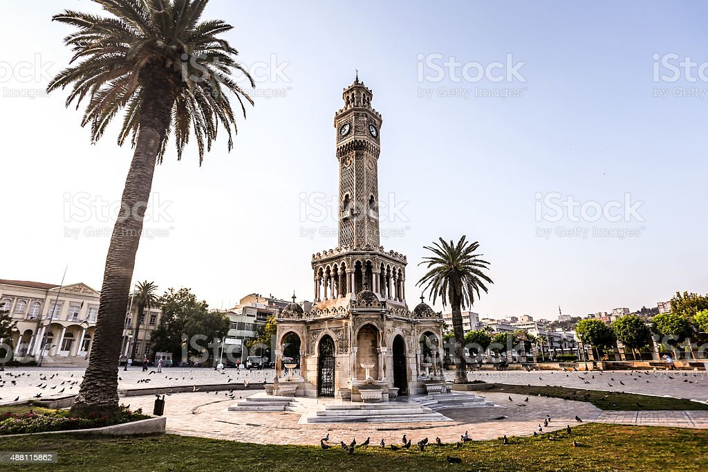 Konak Square street view with old clock tower, Izmir stock photo
