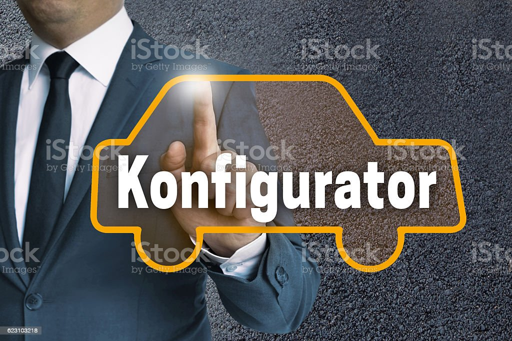 Konfigurator (in german Configurator) auto touchscreen is operat stock photo