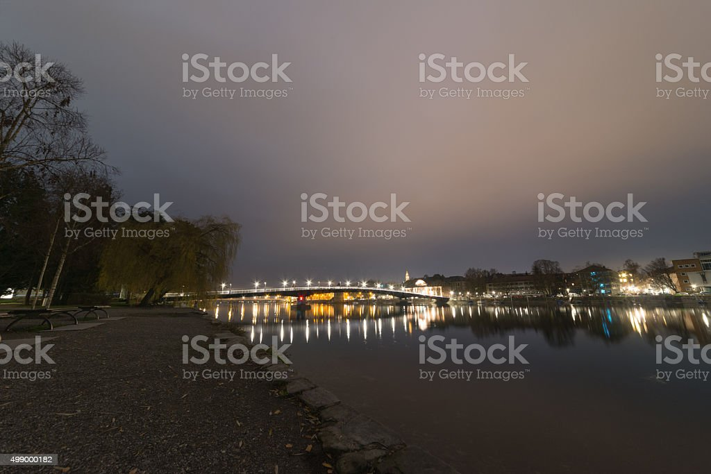 Konstanz in the dark - industrial stock photo