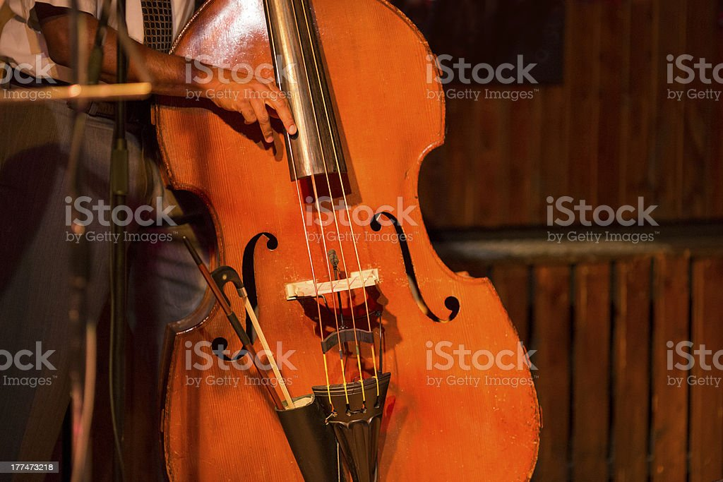 Kontra bass player on stage royalty-free stock photo
