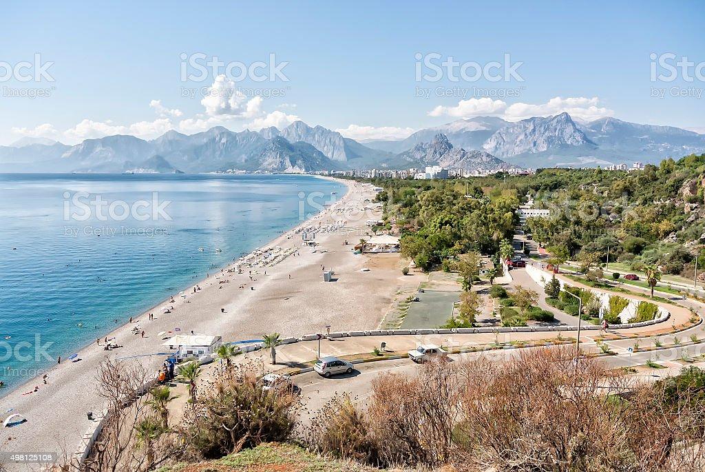 Konyaalti beach, Mediterranean sea with Taurus mountain. Antalya, Turkey stock photo