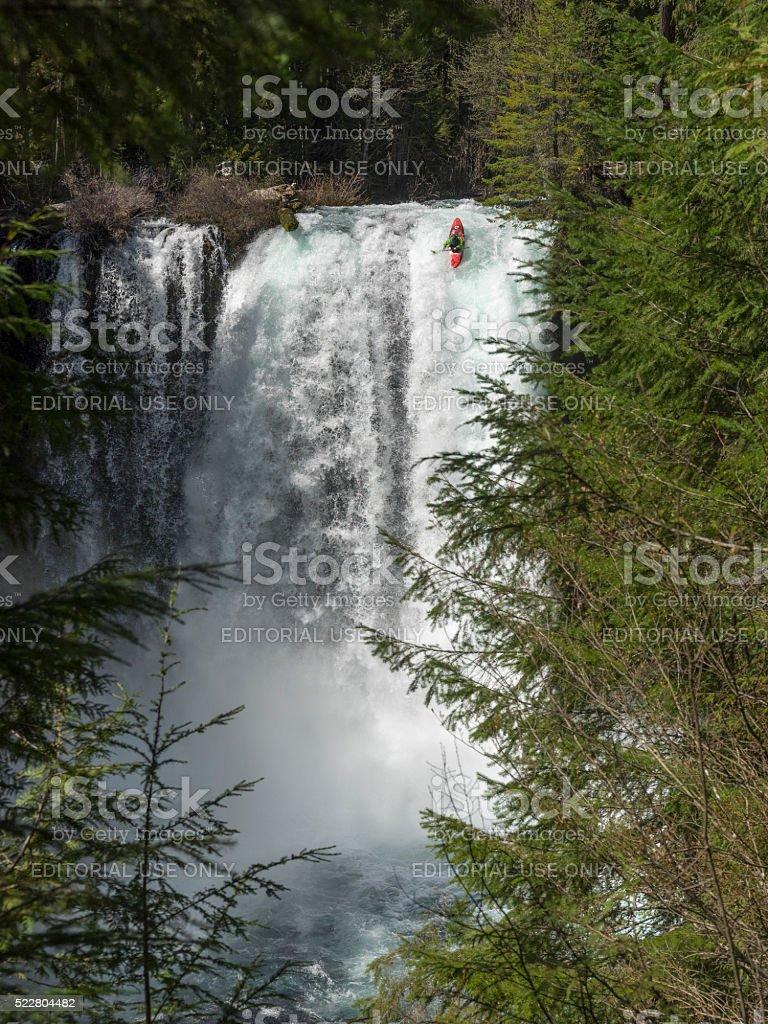 Koosah Falls near Sahalie Falls Oregon With a Kayaker stock photo