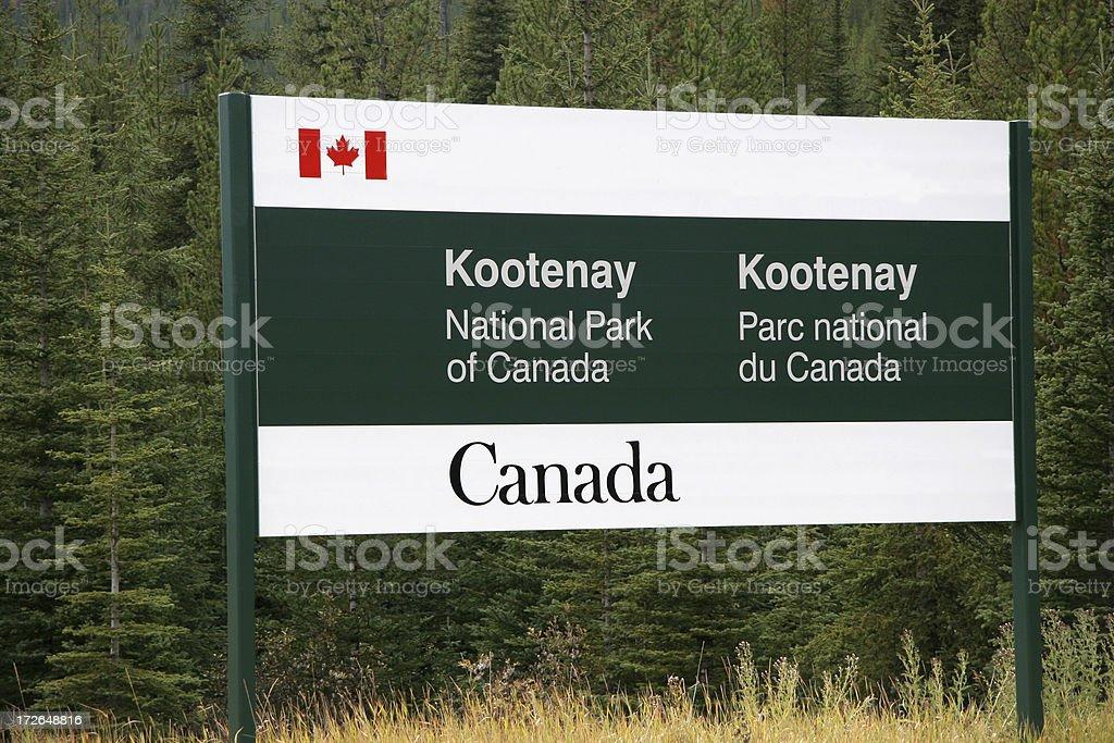 Kootenay National Parks Bilingual Sign royalty-free stock photo