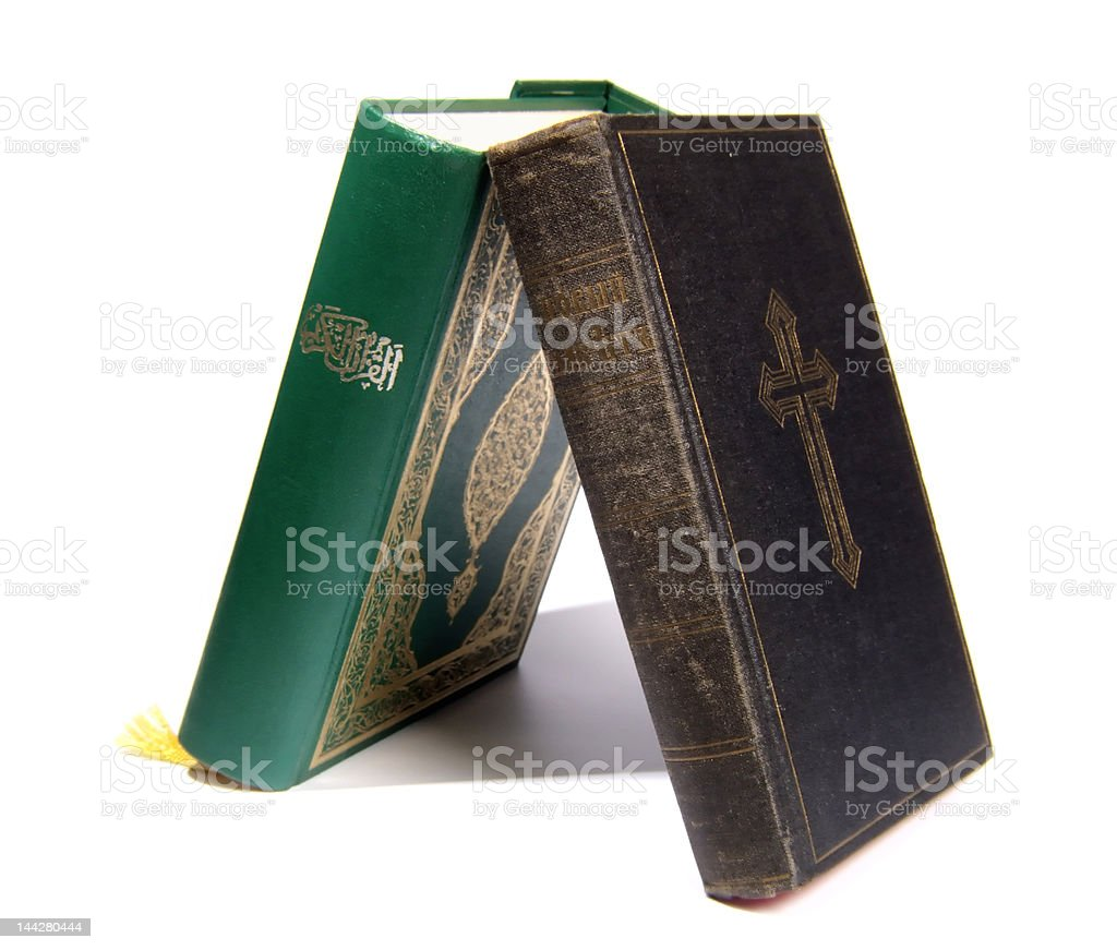 Koran vs Bible stock photo