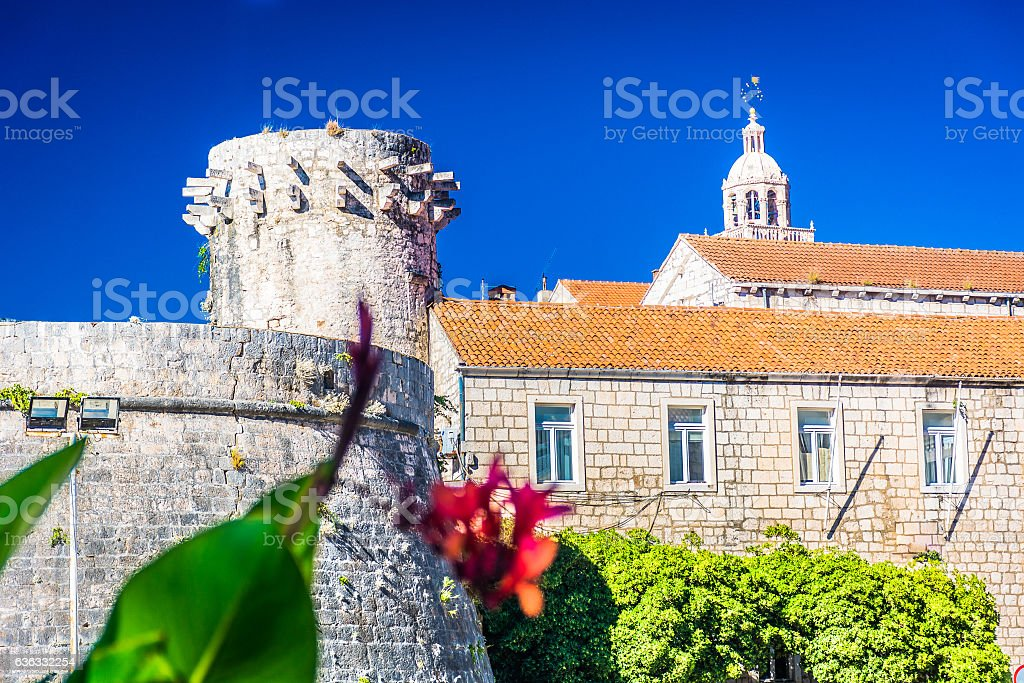 Korcula tower landmark. stock photo