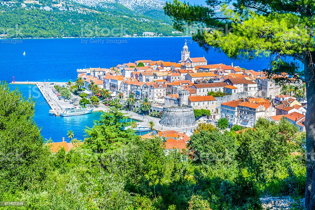 Korcula town aerial. stock photo