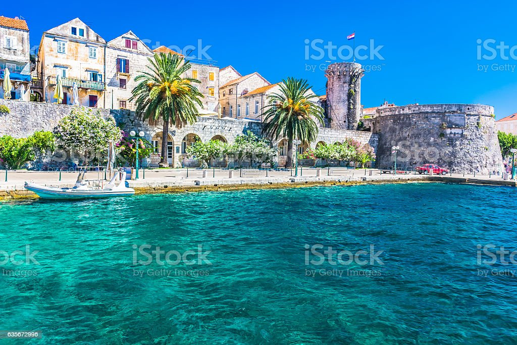 Korcula town coastline view. stock photo