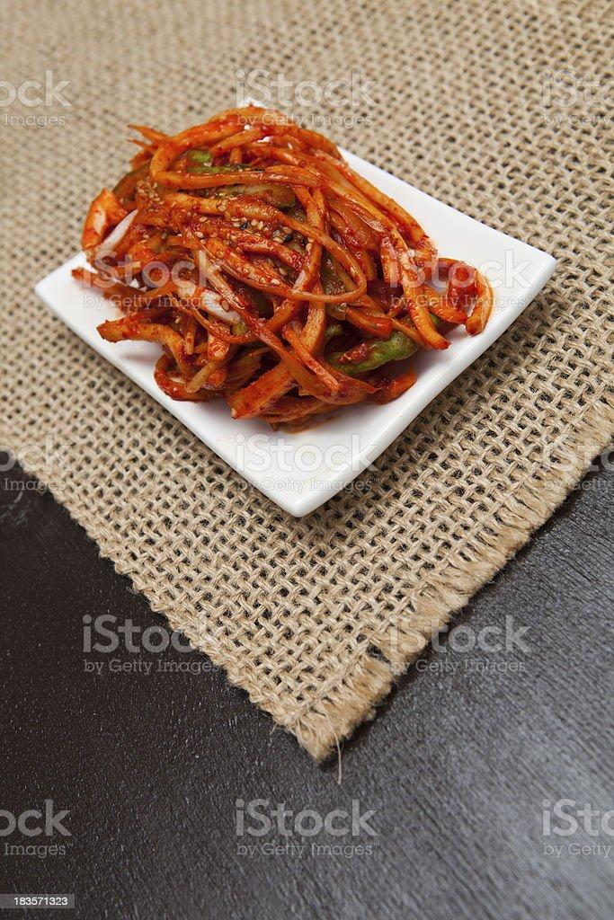 korea balloon flower root salad stock photo