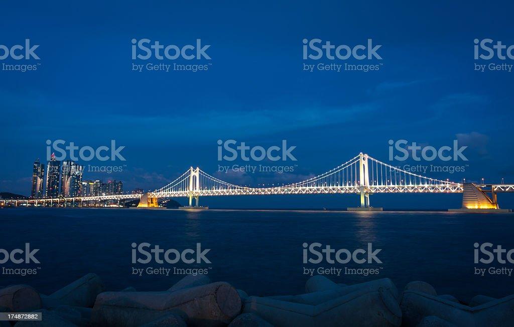 Korea Busan gwangan Bridge night view royalty-free stock photo