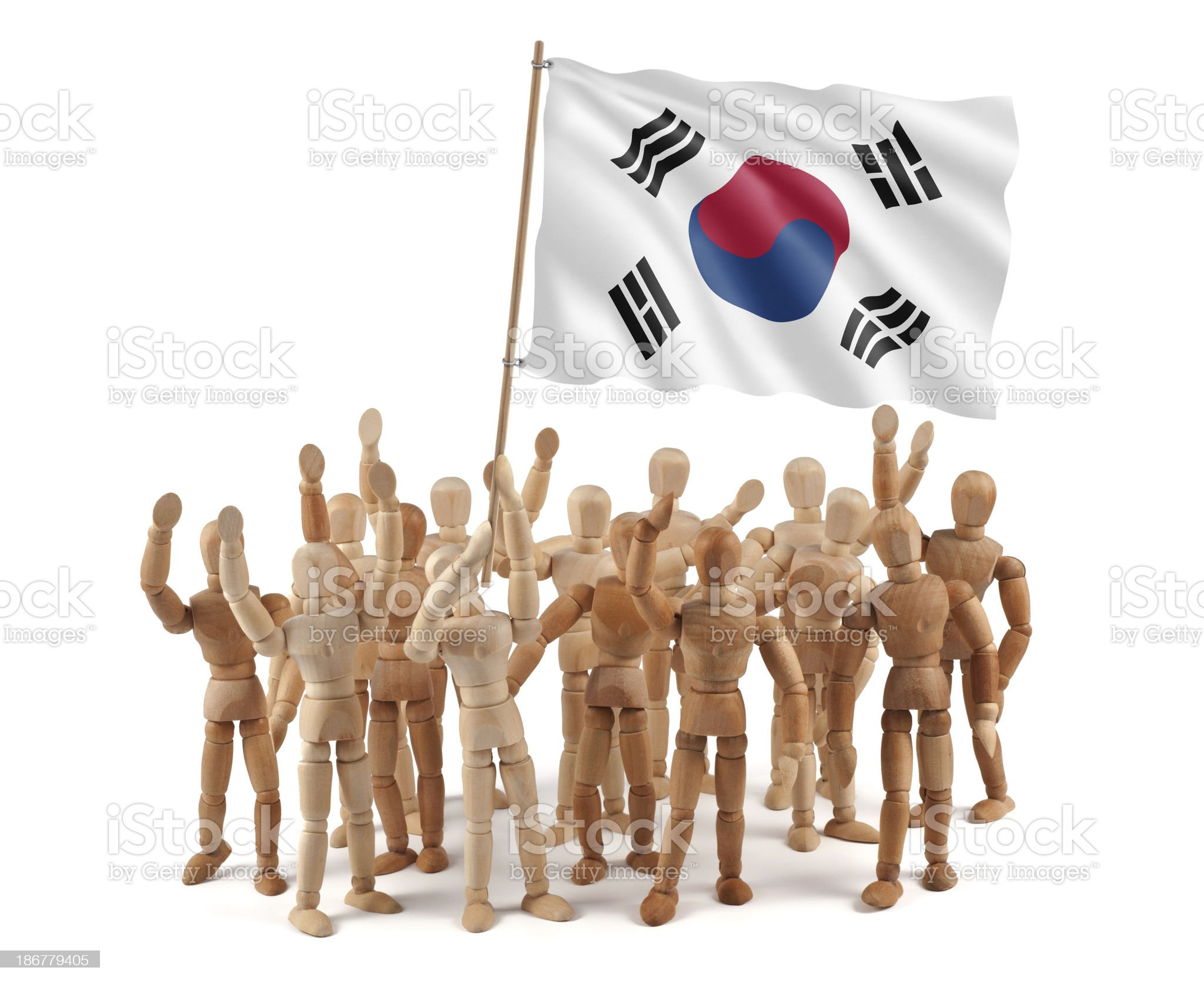 Korea Republic - wooden mannequin group with flag royalty-free stock photo
