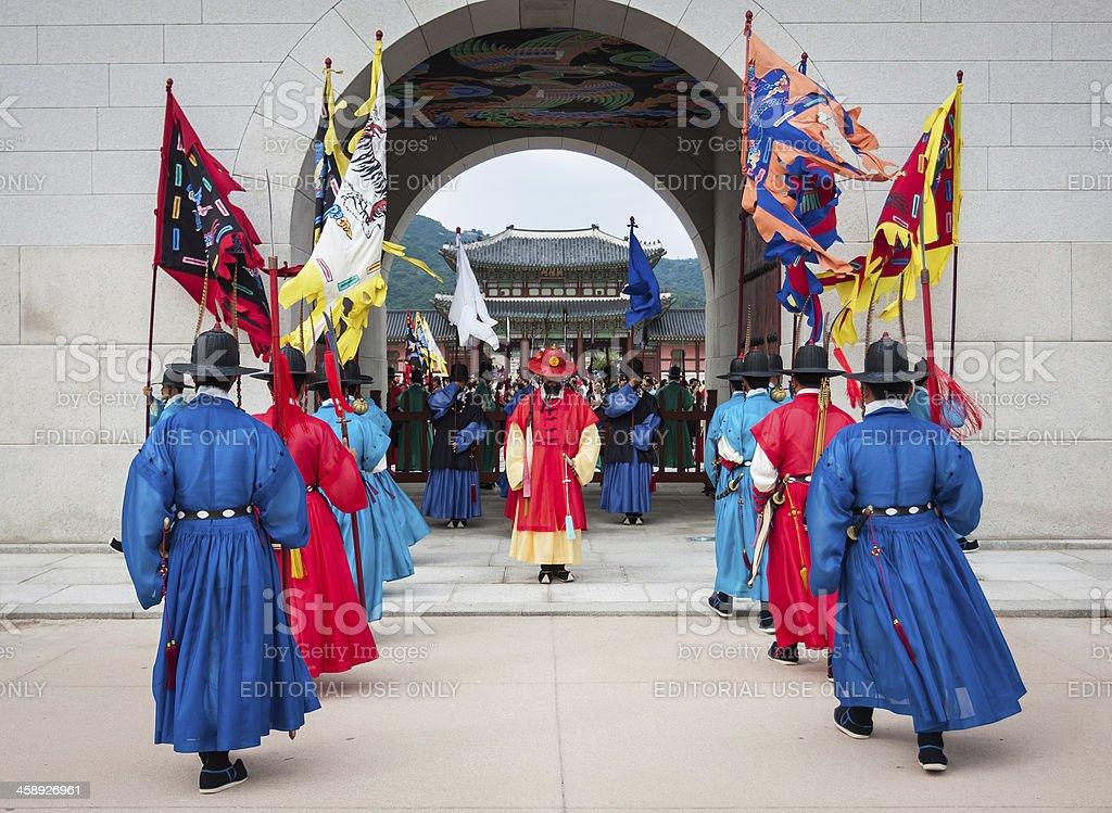 Korea Seoul Gyeongbokgung Palace Ancient guard changing Traditional Ceremony performance royalty-free stock photo