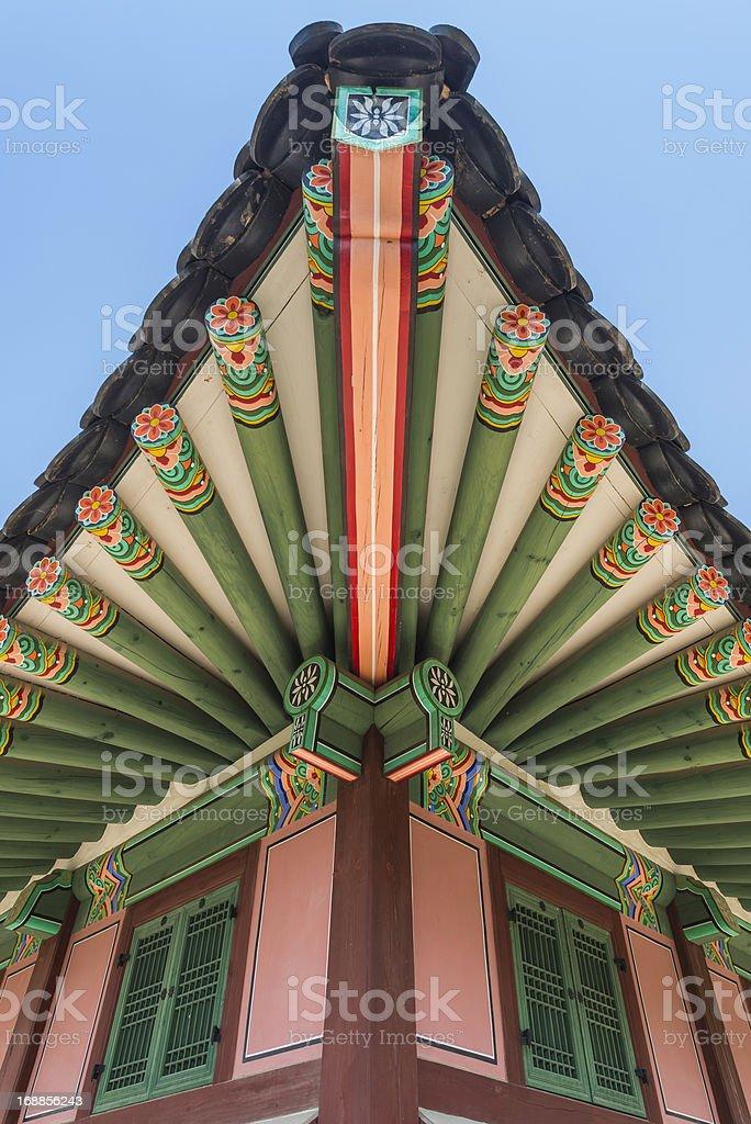 Korea traditional colourful painted pagoda beams Gyeongbokgung Seoul royalty-free stock photo