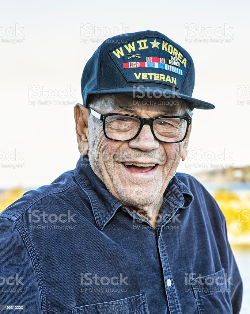 WWII Korea USA Military Veteran Portrait stock photo
