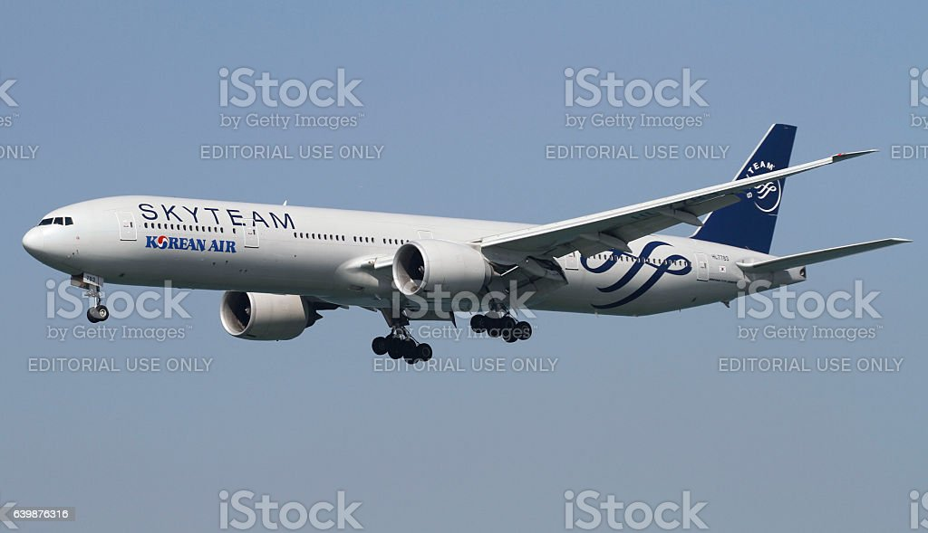 Korean Air Boeing 777 stock photo