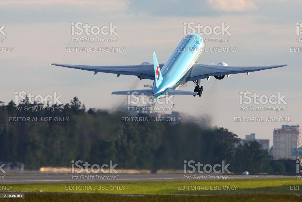 Korean Air Boeing 777-200 HL7715 at Sheremetyevo international airport. stock photo