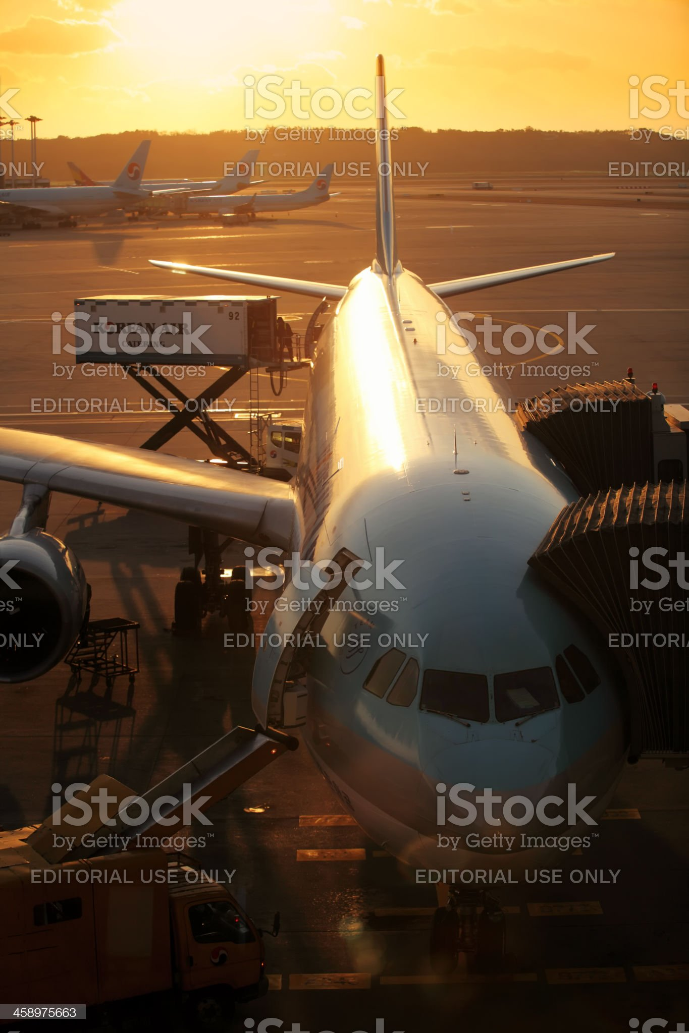 Korean Air jet airplanes at Seoul Incheon International Airport royalty-free stock photo