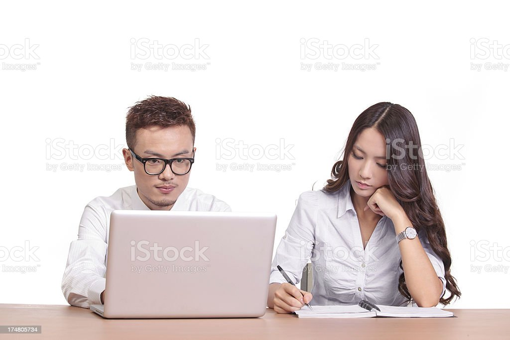 Korean and chinese business people working together royalty-free stock photo