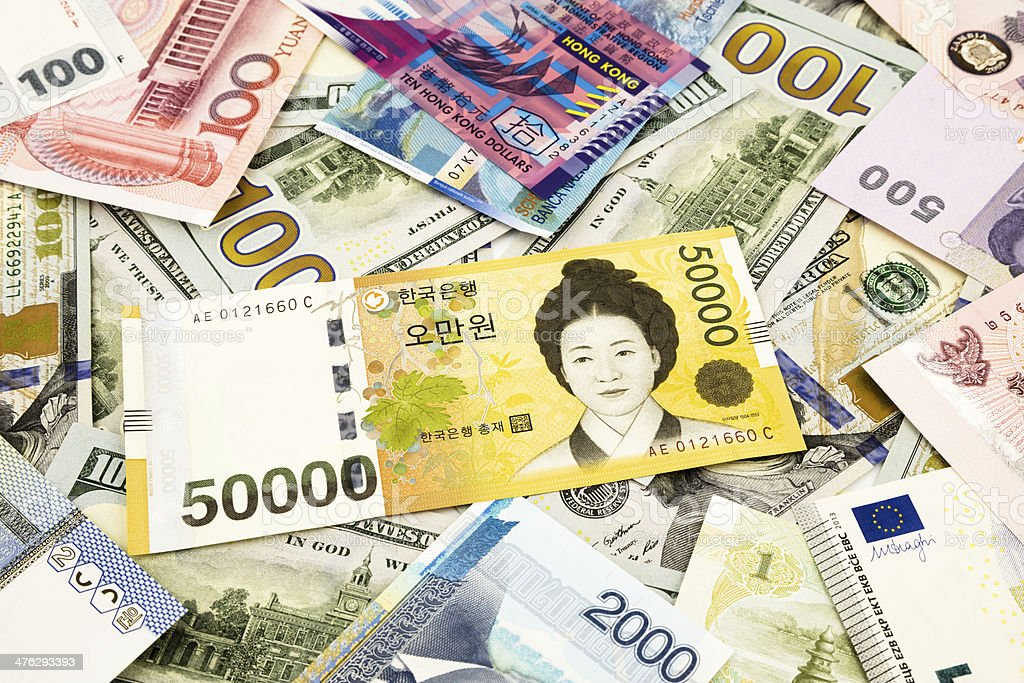 Korean and world currency money banknote royalty-free stock photo