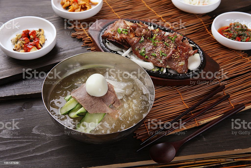 Korean BBQ & Cold Noodle royalty-free stock photo