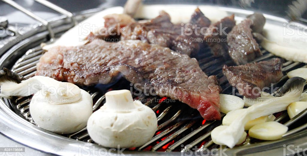 Korean Beef steaks on the grill stock photo
