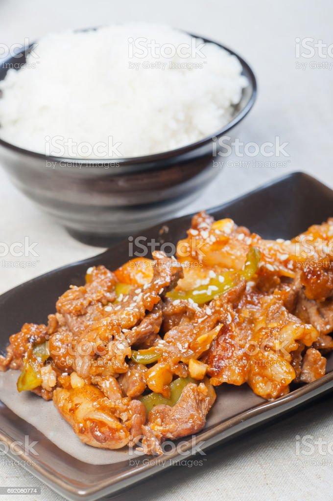 korean beef with rice stock photo