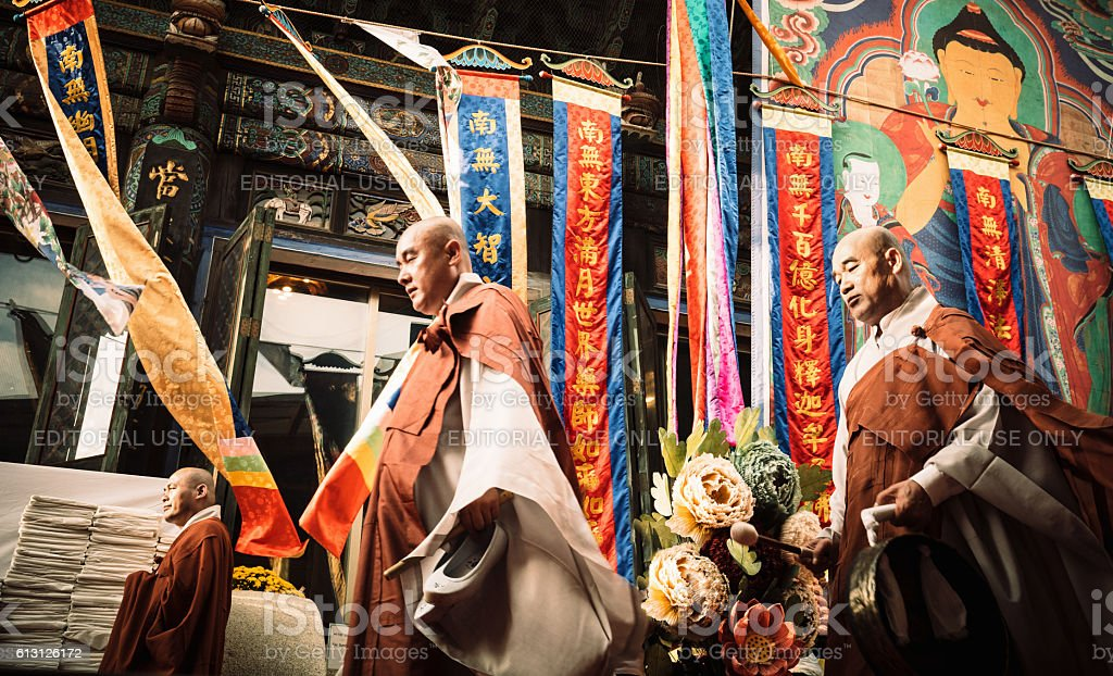 Korean Buddhist Monks Bongeunsa Temple stock photo