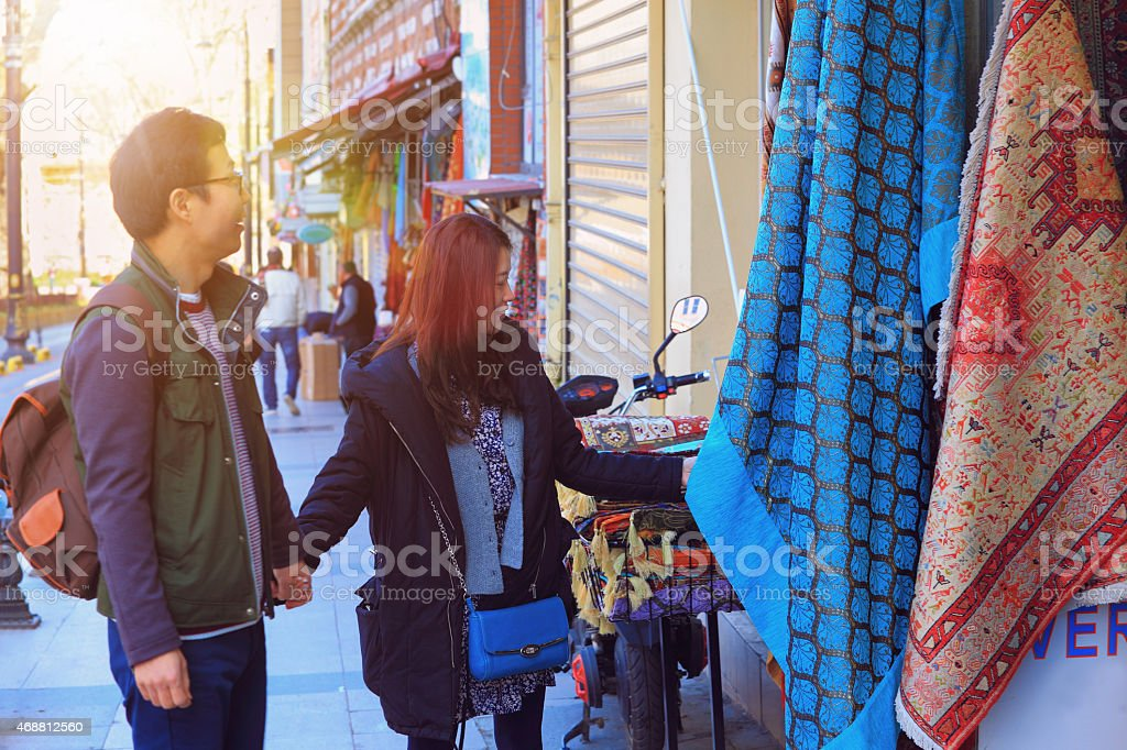 Korean Couple Buying Carpets stock photo