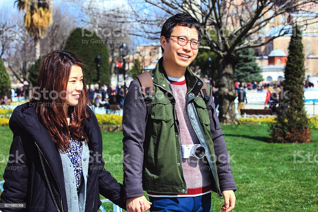 Korean Couple in Istanbul stock photo