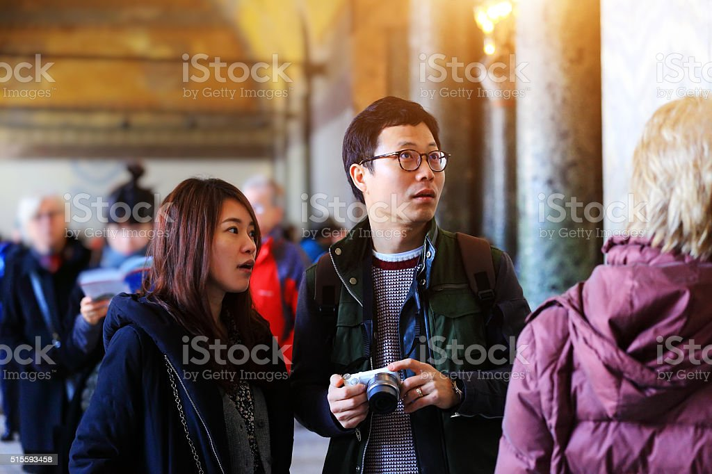 Korean Couple in The Hagia Sophia stock photo