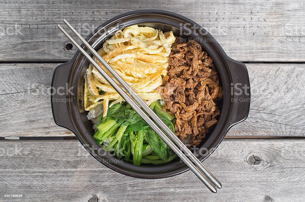 Korean cuisine, egg and  beef Bibimbap stock photo