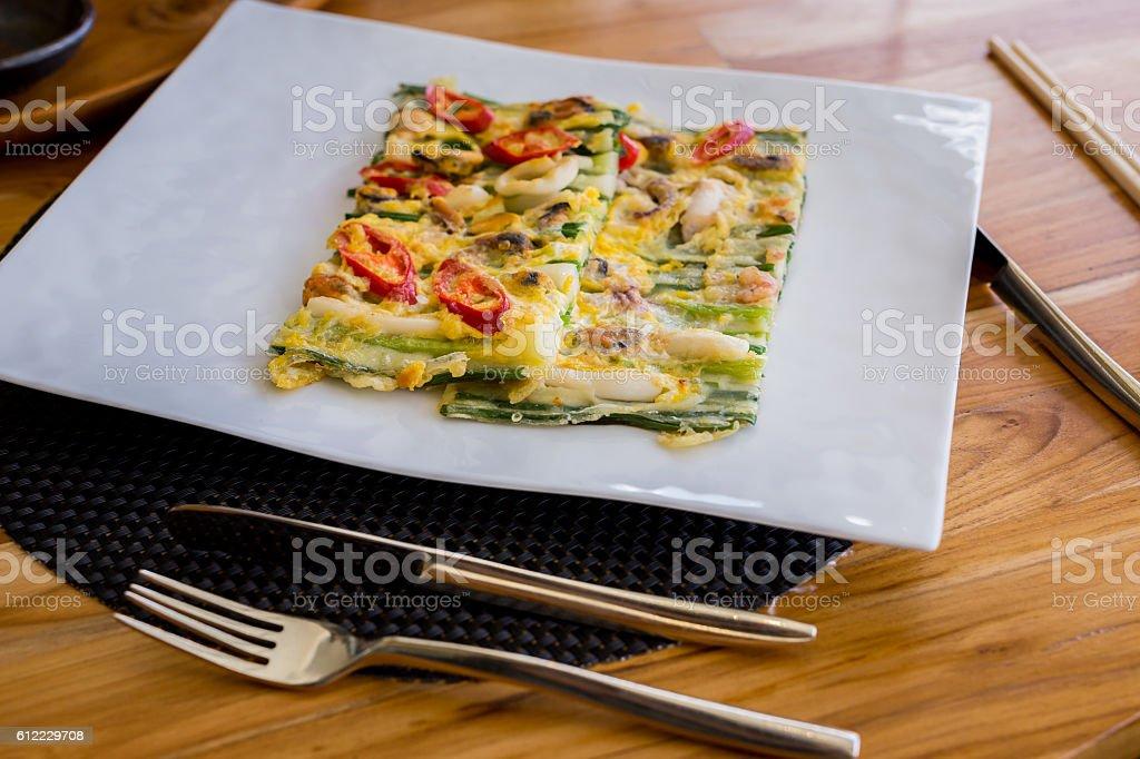 Korean cuisine, Leek and pork Pan cake stock photo