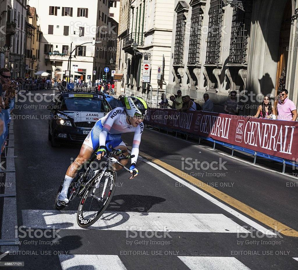 Korean cyclist at the Individual time trial World Championships cycling stock photo