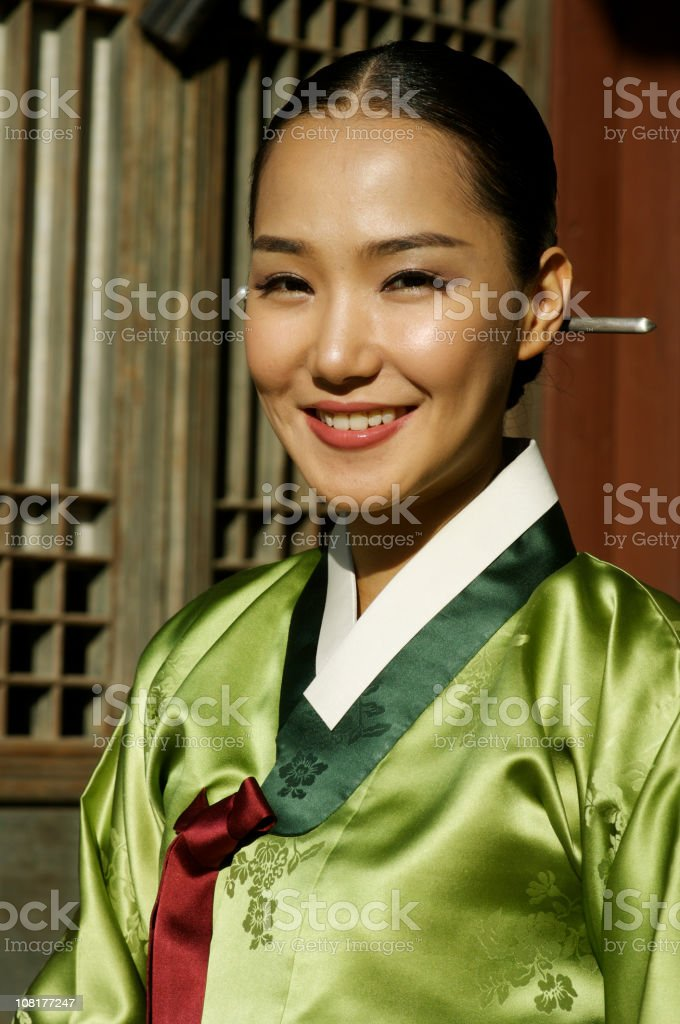Korean female in Hanbok royalty-free stock photo