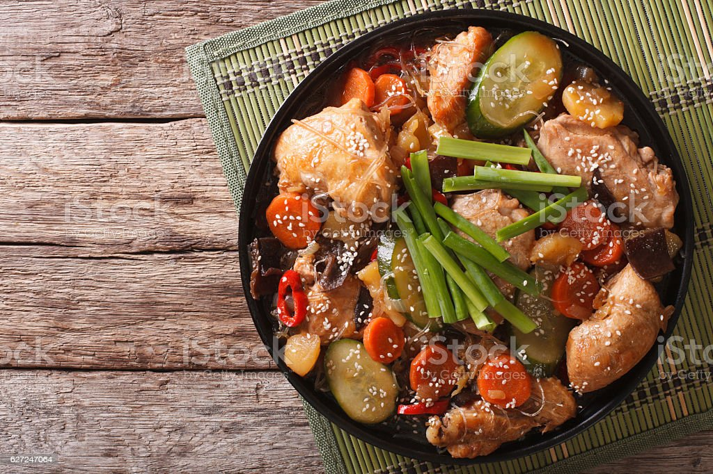 Korean food jjimdak: Stewed chicken with vegetables. Horizontal stock photo